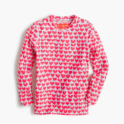 Girls' rash guard in neon hearts