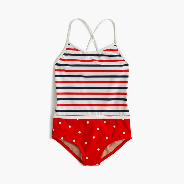 Girls' racerback one-piece combo swimsuit in stripes and dots