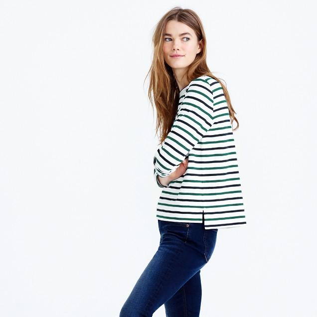 Midweight colorful striped boatneck T-shirt