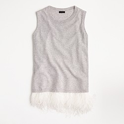 Collection cashmere shell with feathers