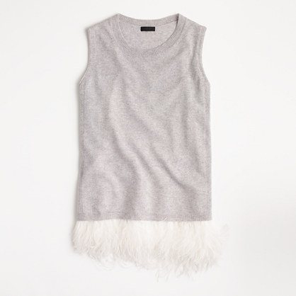 Italian cashmere shell with feathers