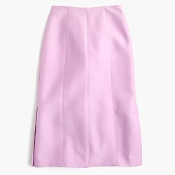 Collection Italian wool-silk paneled skirt