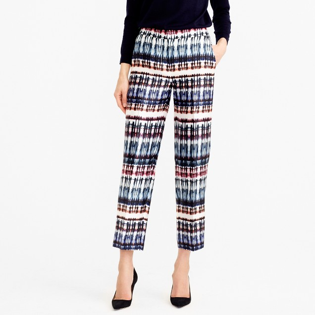 Collection patio pant in silk-wool tie-dye