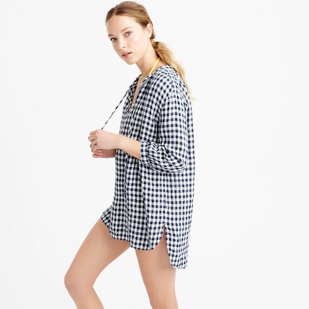 Lightweight linen tunic in gingham