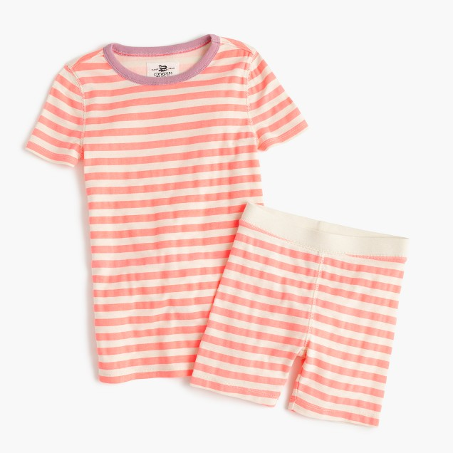 Girls' short-sleeve pajama set in stripe