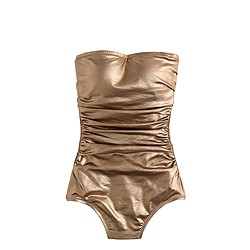 Metallic gold bandeau one-piece swimsuit