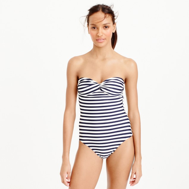 Bandeau one-piece swimsuit in classic stripe