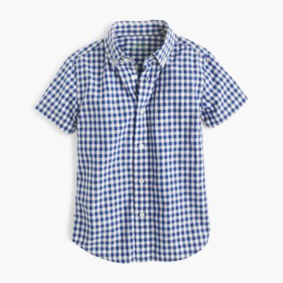 Kids' short-sleeve Secret Wash shirt in gingham