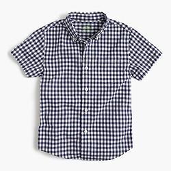 Kids' short-sleeve Secret Wash shirt in gingham