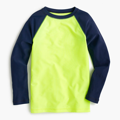 Boys' rash guard in neon baseball