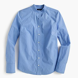 Ruffled button-up shirt in end-on-end cotton