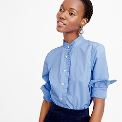 Ruffled button-down shirt in end-on-end cotton