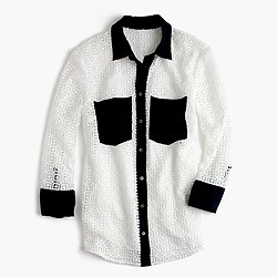 Geometric lace button-up shirt