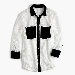 Geometric lace button-up shirt