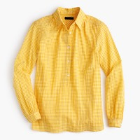 Tall gathered popover shirt in microgingham