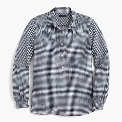 Gathered popover shirt in microgingham