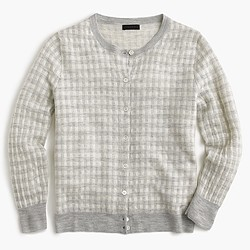 Italian featherweight cashmere cardigan sweater in gingham