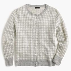 Italian featherweight cashmere cardigan sweater in gingham