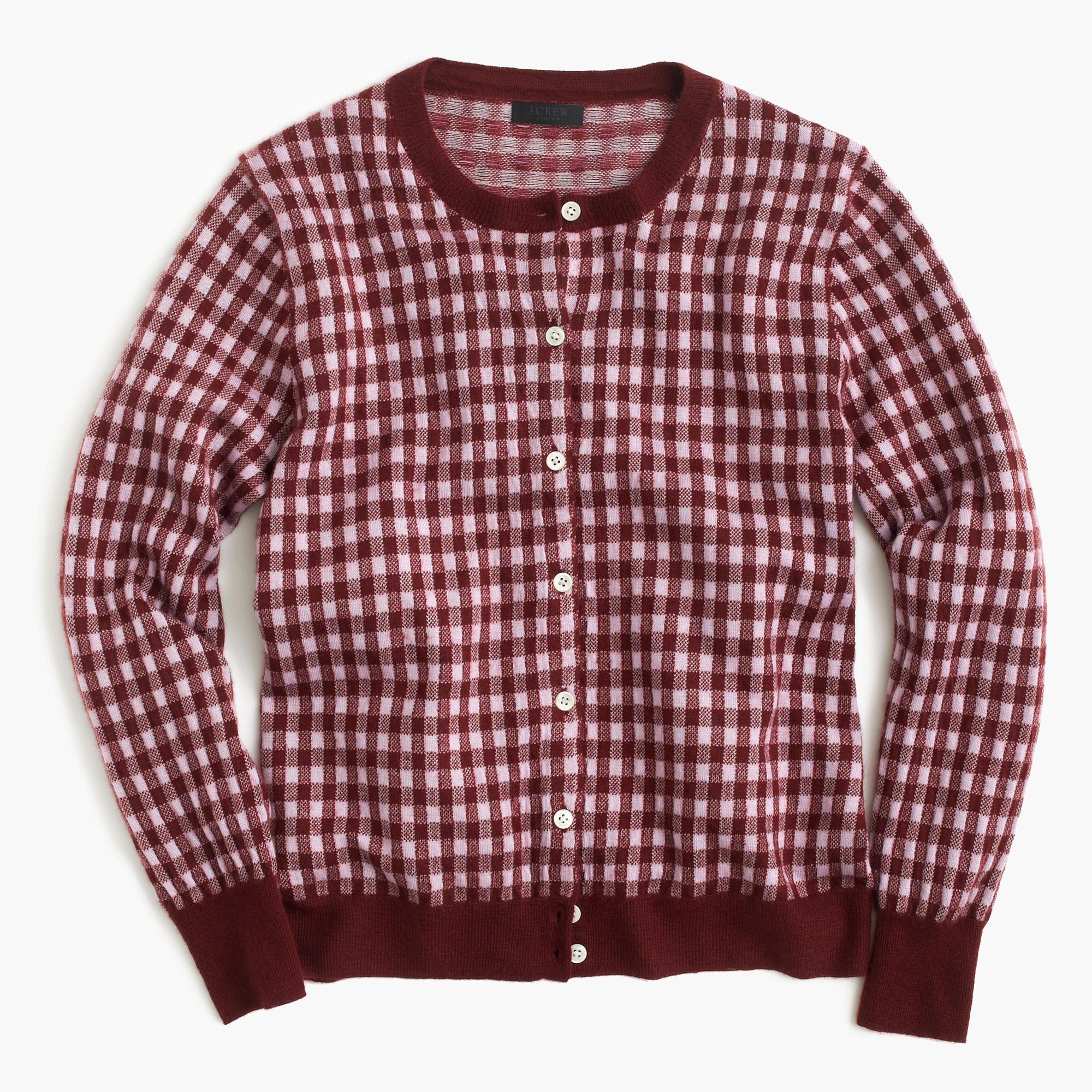Italian featherweight cashmere cardigan sweater in gingham : Women ...