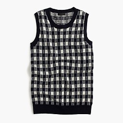 Collection featherweight cashmere shell in gingham