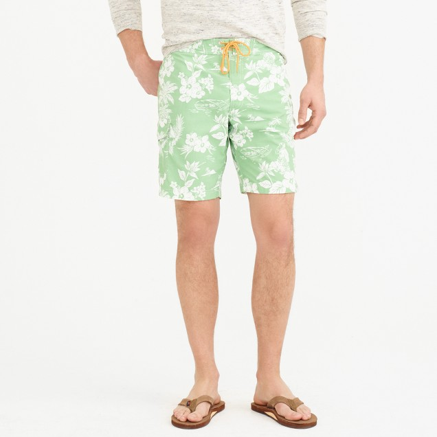 """9"""" board short in tropical floral"""