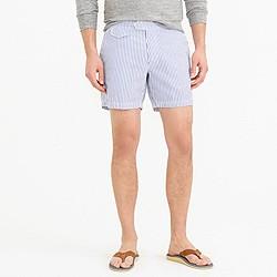 """6.5"""" tab swim short in seersucker stripe"""