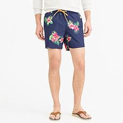 """6"""" swim trunk in hibiscus fern"""