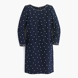 Silk shift dress in polka dot