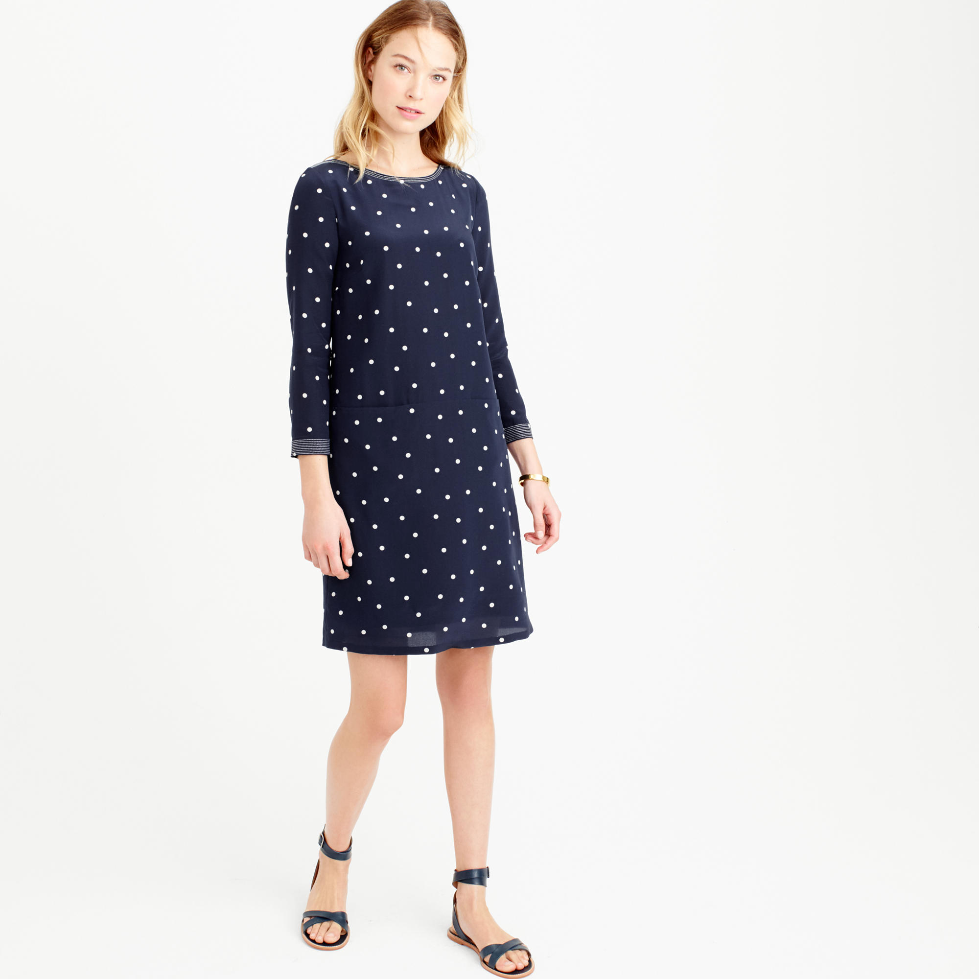 Petite silk shift dress in polka dot : | J.Crew