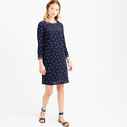 Tall silk shift dress in polka dot
