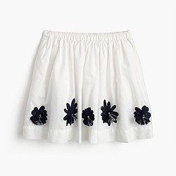 Girls' embellished flower pull-on skirt