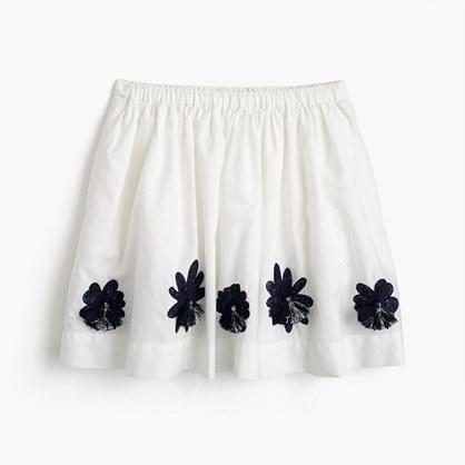 Girls' embellished flower pull-on skirt