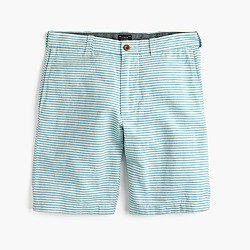 "9"" Stanton short in teal-striped Irish cotton-linen"