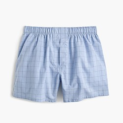 Blue windowpane plaid boxers