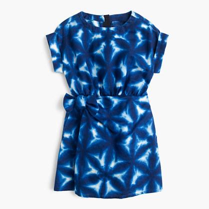 Girls' tie-dye faux-wrap dress