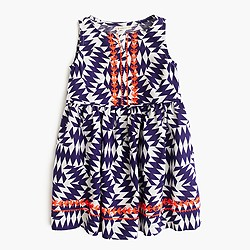 Girls' sleeveless dress in geo pop