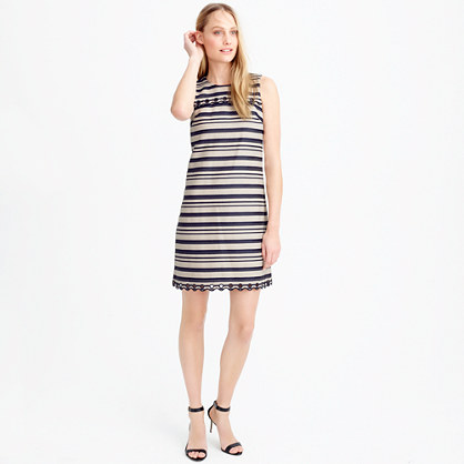Petite striped scalloped dress with grommets