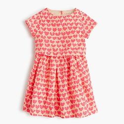 Girls' tiered dress in neon hearts
