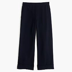 Cropped wide-leg pull-on pant
