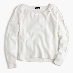 Scalloped crewneck sweater