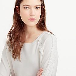 Petite scalloped crewneck sweater