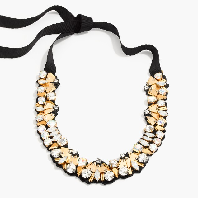Bead and crystal fabric backed necklace j crew for J crew jewelry 2015