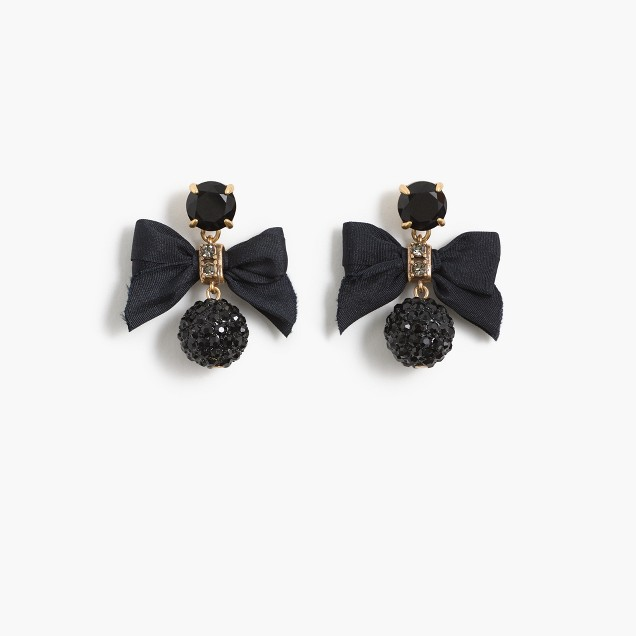 Crystal drop earrings with bow