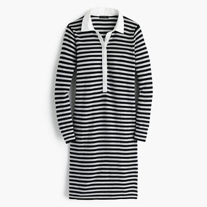 Striped polo sweater-dress in merino wool