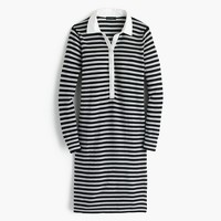 Striped polo sweater-dress in merino wool