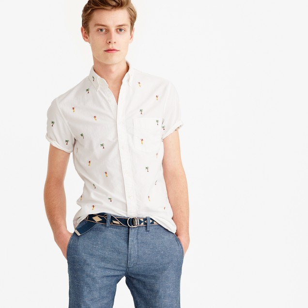 Short sleeve oxford shirt with embroidered palm trees for Mens white oxford button down shirt