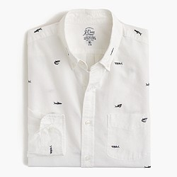 Slim lightweight oxford shirt with embroidered sharks