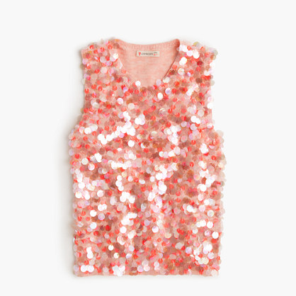 Girls' sequin sleeveless sweater