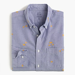 Slim lightweight oxford shirt with embroidered goldfish