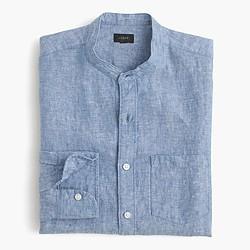 Band-collar shirt in délavé Irish linen